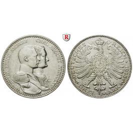 Deutsches Kaiserreich, Sachsen-Weimar-Eisenach, Wilhelm Ernst, 3 Mark 1915, Jahrhundertfeier, A, vz/vz-st, J. 163