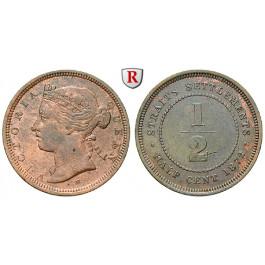 Straits Settlements, Victoria, 1/2 Cent 1872, ss+
