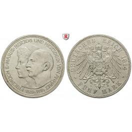 Deutsches Kaiserreich, Anhalt, Friedrich II., 5 Mark 1914, Silberhochzeit, A, ss+, J. 25