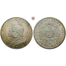 Deutsches Kaiserreich, Preussen, Wilhelm II., 5 Mark 1901, 200 Jahre Königreich, A, vz/vz+, J. 106
