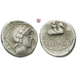 Römische Republik, P. Crepusius, Denar 82 v.Chr., ss