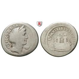 Römische Republik, L. Mussidius Longus, Denar 42 v.Chr., f.ss