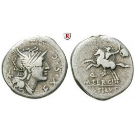 Römische Republik, M. Sergius Silus, Denar 116-115 v.Chr., f.ss