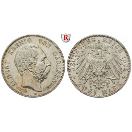 Deutsches Kaiserreich, Sachsen, Albert, 2 Mark 1902, auf den Tod, E, ss-vz, J. 127