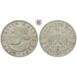 Drittes Reich, 2 Reichsmark 1933, Luther, G, ss+, J. 352