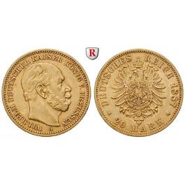 Deutsches Kaiserreich, Preussen, Wilhelm I., 20 Mark 1887, A, ss-vz, J. 246