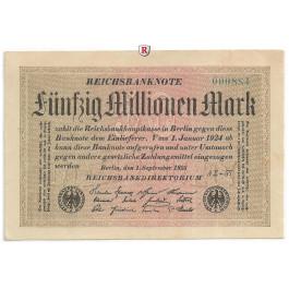 Inflation 1919-1924, 50 Mio Mark 01.09.1923, I-, Rb. 108f