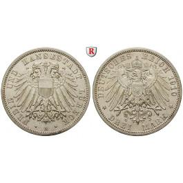 Deutsches Kaiserreich, Lübeck, 3 Mark 1910, A, ss-vz, J. 82