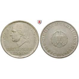 Weimarer Republik, 5 Reichsmark 1929, Lessing, A, vz-st, J. 336