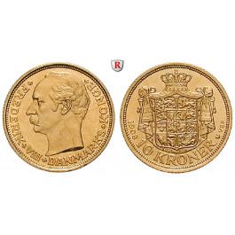 Dänemark, Frederik VIII., 10 Kroner 1908, 4,03 g fein, vz-st