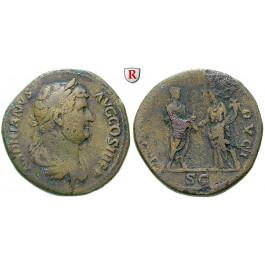 Römische Kaiserzeit, Hadrianus, Sesterz 134-138, ss