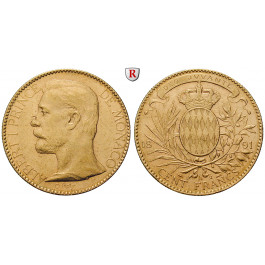 Monaco, Albert I., 100 Francs 1891, 29,03 g fein, ss+