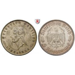Drittes Reich, 5 Reichsmark 1934, Schiller, F, vz/vz-st, J. 359