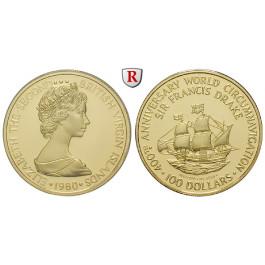 Britisch Virgin Island, Elisabeth II., 100 Dollars 1976, 6,39 g fein, PP