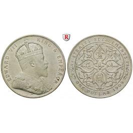 Straits Settlements, Edward VII., Dollar 1909, vz