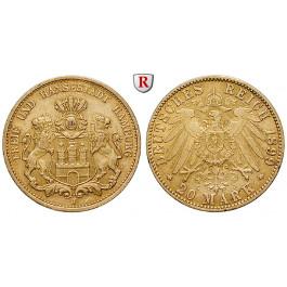 Deutsches Kaiserreich, Hamburg, 20 Mark 1899, J, ss-vz, J. 212