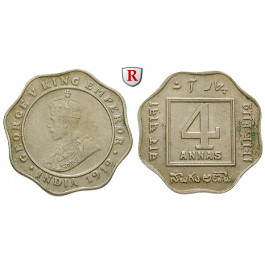 Indien, Britisch-Indien, George V., 4 Annas 1919, vz