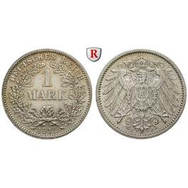 Deutsches Kaiserreich, 1 Mark 1912, J, 5,0 g fein, ss-vz, J. 17
