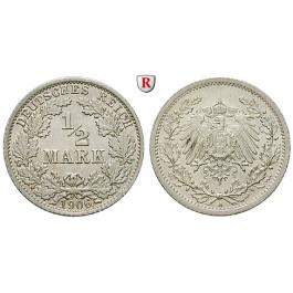 Deutsches Kaiserreich, 1/2 Mark 1906, A, st, J. 16