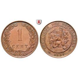 Niederlande, Königreich, Wilhelmina I., Cent 1907, ss/ss-vz