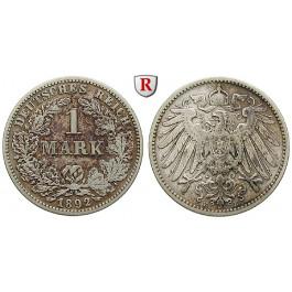 Deutsches Kaiserreich, 1 Mark 1892, E, 5,0 g fein, ss, J. 17