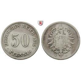 Deutsches Kaiserreich, 50 Pfennig 1875, B, f.ss, J. 7