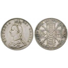 Grossbritannien, Victoria, Double-Florin 1890, ss+