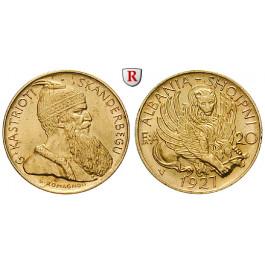 Albanien, Zogu I., 20 Franga Ari 1927, 5,81 g fein, vz-st