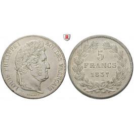 Frankreich, Louis Philippe, 5 Francs 1837, vz
