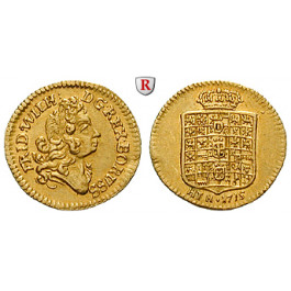 Brandenburg-Preussen, Königreich Preussen, Friedrich Wilhelm I., 1/4 Dukat 1715, vz/ss-vz