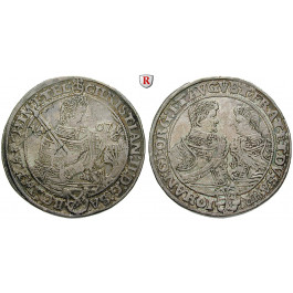 Sachsen, Albertinische Linie, Christian II., Johann Georg I., August, Dicker doppelter Reichstaler 1607, ss+
