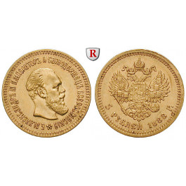 Russland, Alexander III., 5 Rubel 1888, 5,81 g fein, f.vz