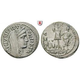 Römische Republik, L. Aemilius Lepidus Paullus, Denar 62 v.Chr., vz/ss-vz