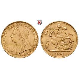 Grossbritannien, Victoria, Half-Sovereign 1901, 3,66 g fein, vz