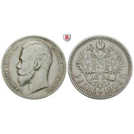 Russland, Nikolaus II., Rubel 1906, ss
