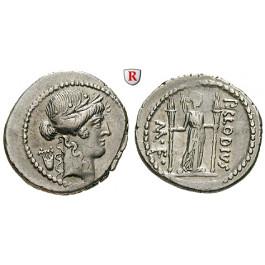 Römische Republik, P. Clodius, Denar 42 v.Chr., vz