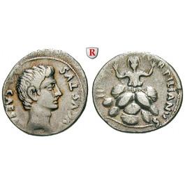 Römische Kaiserzeit, Augustus, Denar 18 v.Chr., ss+