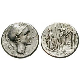 Römische Republik, Cn. Cornelius Blasio, Denar 112-111 v.Chr., ss-vz