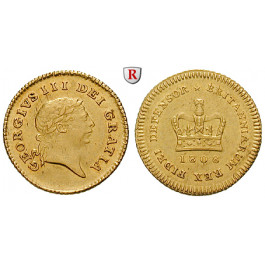 Grossbritannien, George III., 1/3 Guinea 1808, 2,63 g fein, ss-vz