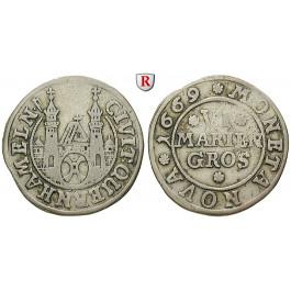 Hameln, Stadt, 6 Mariengroschen 1669, ss
