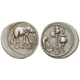 Römische Republik, Caius Iulius Caesar, Denar 49-48 v.Chr., f.vz
