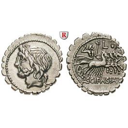 Römische Republik, L. Scipio Asiagenus, Denar, serratus 106 v.Chr., ss-vz