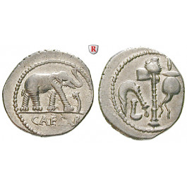 Römische Republik, Caius Iulius Caesar, Denar 49-48 v.Chr., ss+