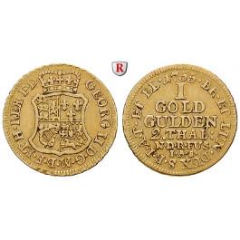 Braunschweig, Braunschweig-Calenberg-Hannover, Georg II., Goldgulden (2 Taler) 1755, ss+