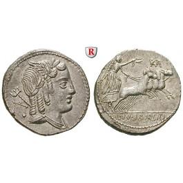 Römische Republik, L. Iulius Bursio, Denar 85 v.Chr., vz