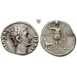 Römische Kaiserzeit, Augustus, Denar 10 v.Chr., ss-vz