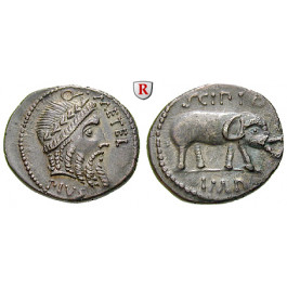 Römische Republik, Q. Caecilius Metellus, Denar 47-46 v.Chr., vz-st/ss-vz