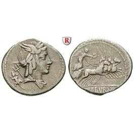Römische Republik, L. Iulius Bursio, Denar 85 v.Chr., ss
