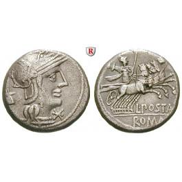 Römische Republik, L. Postumius Albinus, Denar, ss+