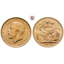 Australien, George V., Sovereign 1914, 7,32 g fein, vz-st